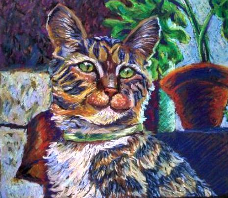 Portrait of Mars oil pastel by Nanne (Nan) Barkdull